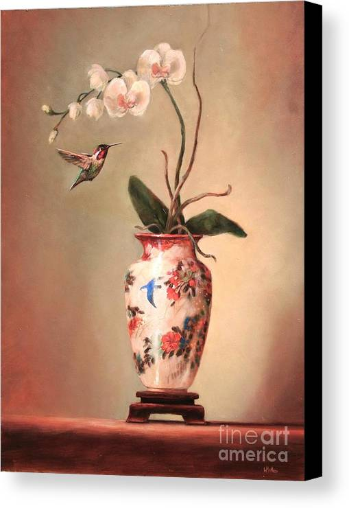 Japanese Canvas Print featuring the painting Hummingbird And White Orchid by Lori McNee