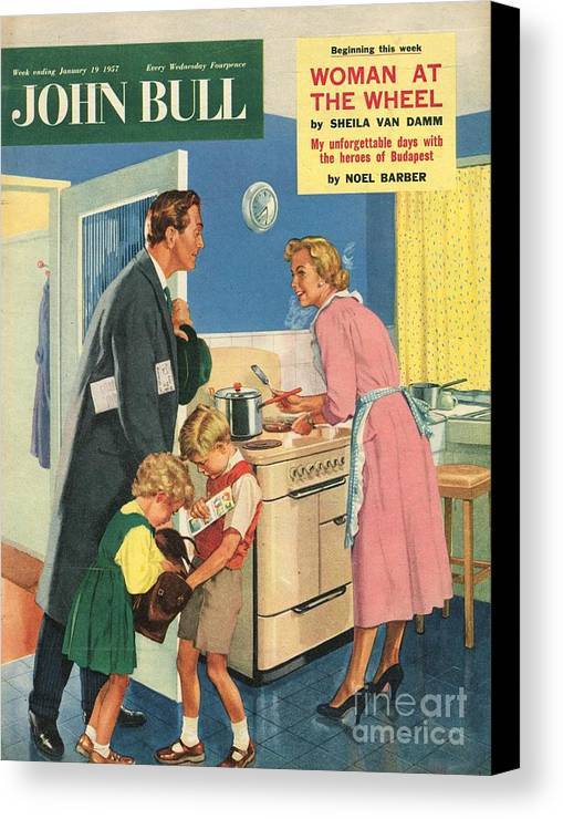 1950�s Canvas Print featuring the drawing John Bull 1957 1950s Uk Cooking by The Advertising Archives