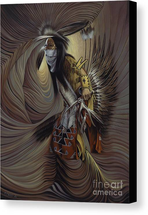 Native-american Canvas Print featuring the painting On Sacred Ground Series IIl by Ricardo Chavez-Mendez