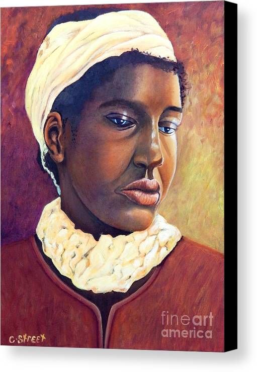 Portrait Canvas Print featuring the painting Pensive Contemplation by Caroline Street