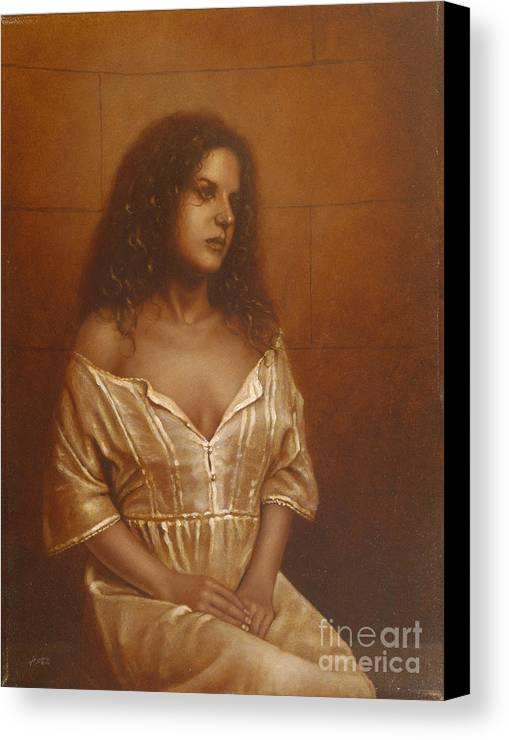 Girl Canvas Print featuring the painting Waiting For Her Lover by John Silver