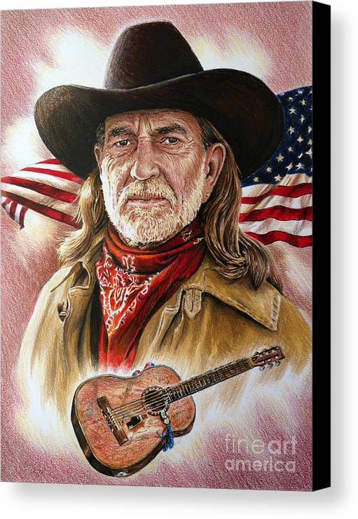 Willie Nelson Canvas Print featuring the painting Willie Nelson American Legend by Andrew Read