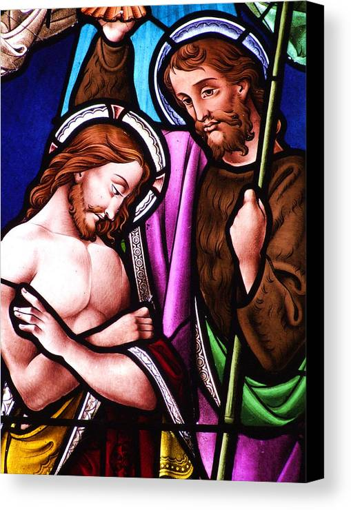Jesus Canvas Print featuring the photograph Baptism by Munir Alawi