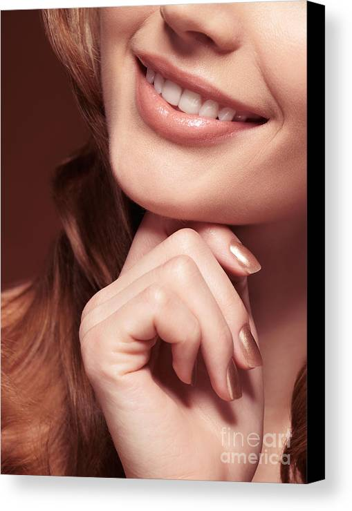 Mouth Canvas Print featuring the photograph Beautiful Young Smiling Woman Mouth by Oleksiy Maksymenko
