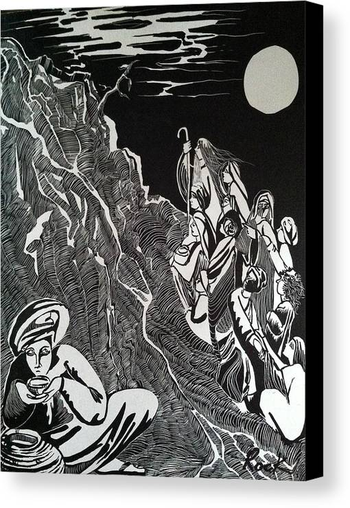 Bible Madman Black White Moon Canvas Print featuring the drawing Don't Drink The Water by Jackie Rock