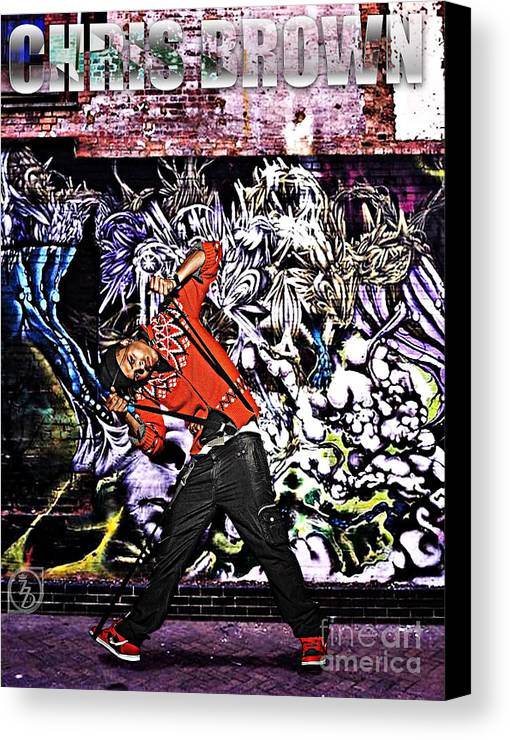 Chris Brown Canvas Print featuring the digital art Street Phenomenon Chris Brown by The DigArtisT