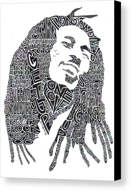 Bob Marley Canvas Print featuring the drawing Bob Marley Black And White Word Portrait by Kato Smock