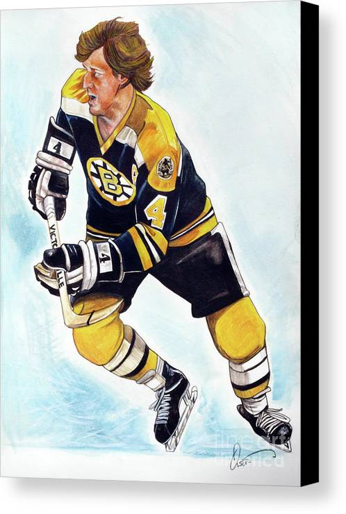 Bruins Canvas Print featuring the painting Bobby Orr by Dave Olsen