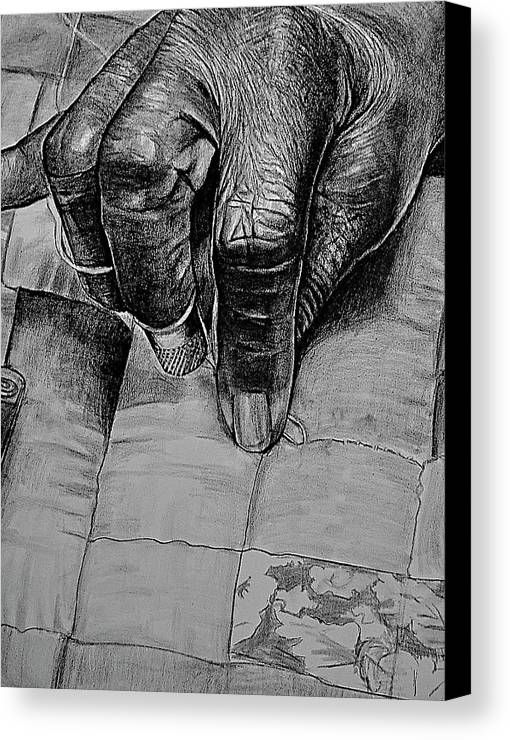 Hands Canvas Print featuring the drawing Grandma's Hands by Curtis James