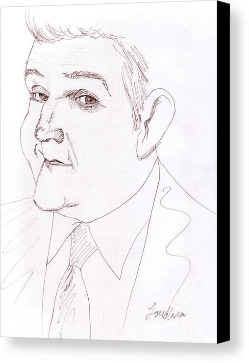 Jay Leno Canvas Print featuring the drawing Jay Leno by M Valeriano