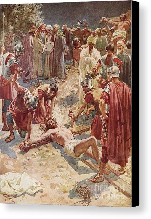 Jesus Being Crucified By William Brassey Hole (1846-1917) Jesus Canvas Print featuring the painting Jesus Being Crucified by William Brassey Hole