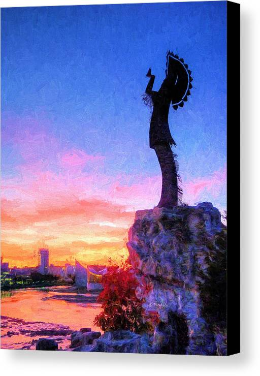 Keeper Of The Plains Canvas Print featuring the photograph Keeper Of The Plains by JC Findley