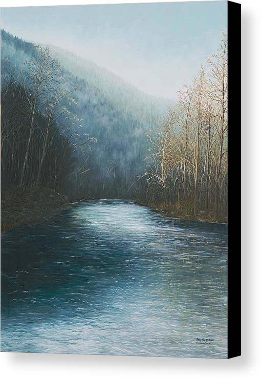 Buffalo River Paintings Canvas Print featuring the painting Little Buffalo River by Mary Ann King