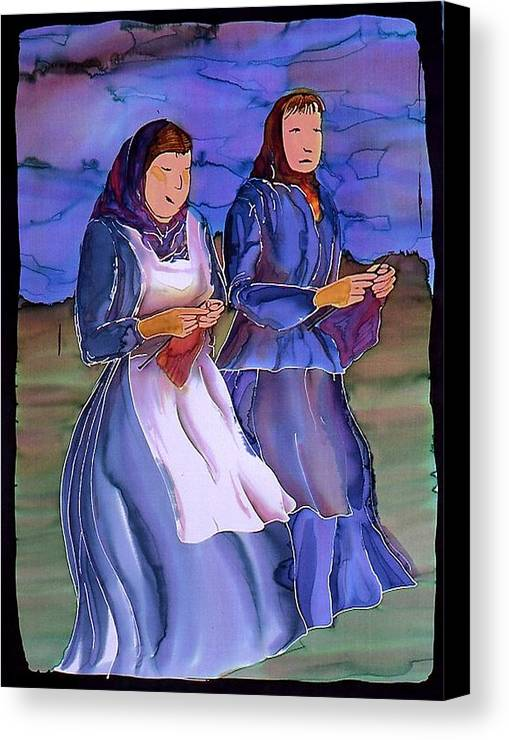 Ladies Canvas Print featuring the tapestry - textile The Blowing Skirts Of Ladies by Carolyn Doe