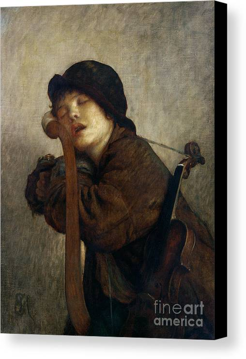 Boy Canvas Print featuring the painting The Little Violinist Sleeping by Antoine Auguste Ernest Hebert