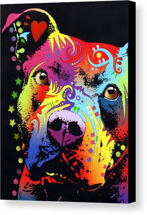 Pitbull Canvas Print featuring the painting Thoughtful Pitbull Warrior Heart by Dean Russo