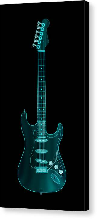 electric Guitar Canvas Print featuring the digital art X-ray Electric Guitar by Michael Tompsett