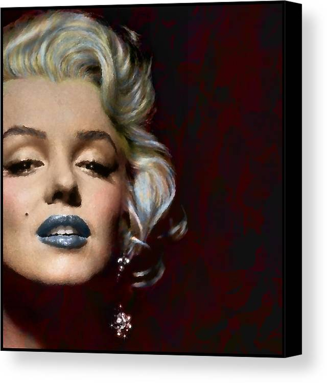 Marilyn Monroe Actress Legend Icon Hollywood Sex Symbol Movie Star Digital Painting Artist Glamour Woman Model Blonde Lips Sexy Canvas Print featuring the digital art Some Like It Hot by Marie Gale
