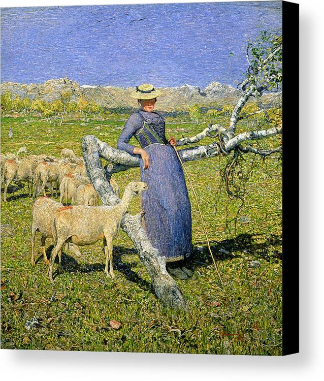 Afternoon In The Alps Canvas Print featuring the painting Afternoon In The Alps by Giovanni Segantini