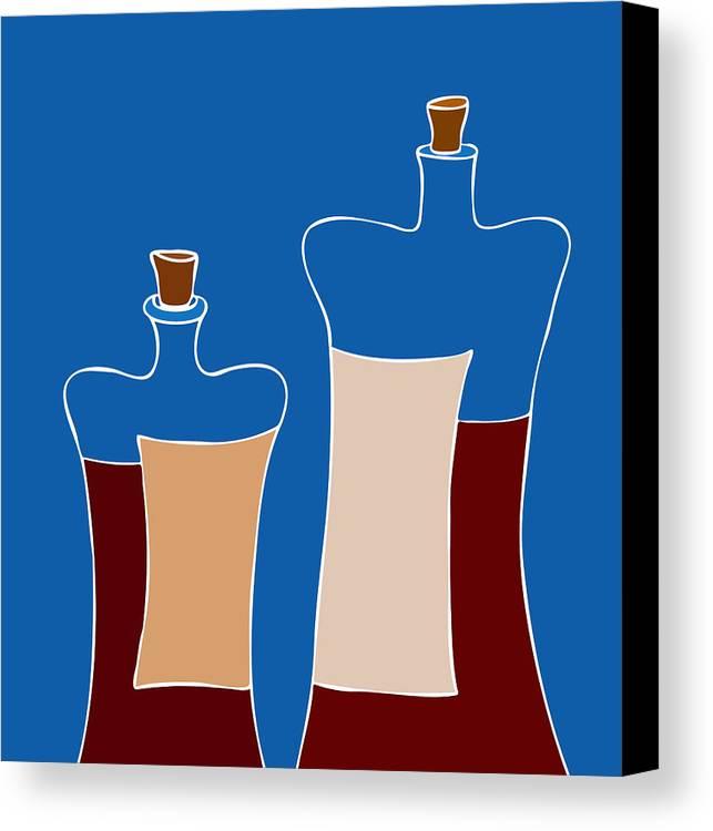 Frank Tschakert Canvas Print featuring the painting Wine Bottles by Frank Tschakert