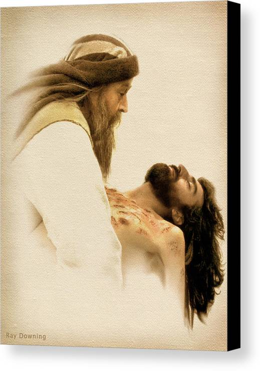 Jesus Canvas Print featuring the digital art Jesus Laid To Rest by Ray Downing