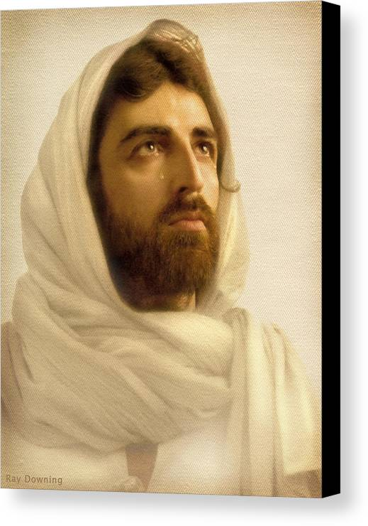 Jesus Canvas Print featuring the digital art Jesus Wept by Ray Downing