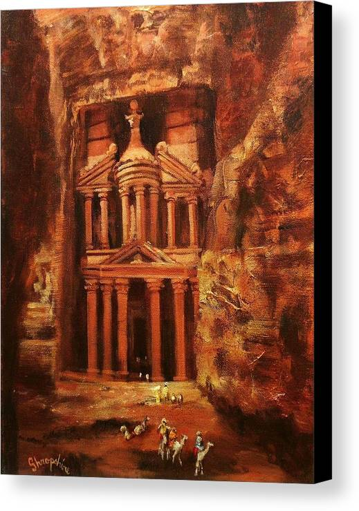 Jordan Canvas Print featuring the painting Treasury Of Petra by Tom Shropshire