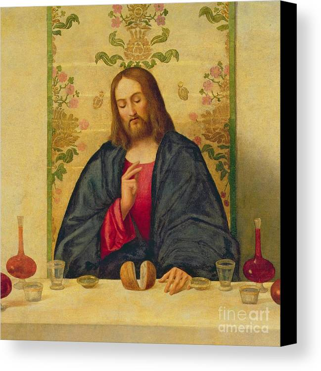 Jesus Canvas Print featuring the painting The Supper At Emmaus by Vincenzo di Biaio Catena