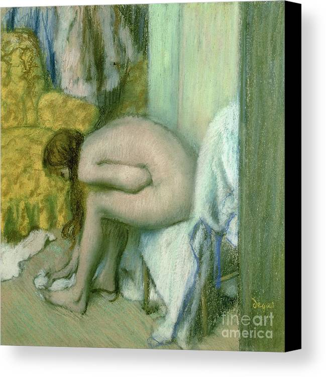 Wet Canvas Print featuring the pastel After The Bath by Edgar Degas