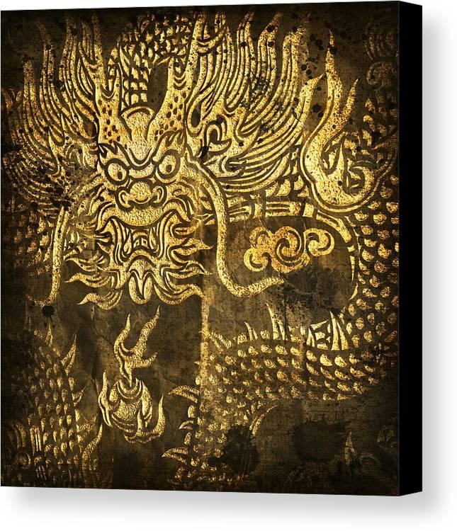 Abstract Canvas Print featuring the digital art Dragon Pattern by Setsiri Silapasuwanchai