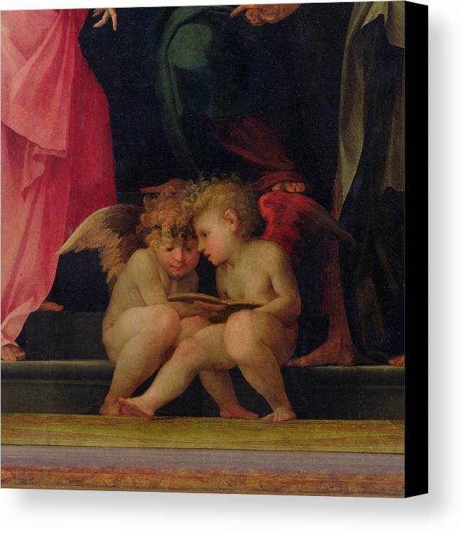 Two Canvas Print featuring the painting Two Cherubs Reading Detail From Madonna And Child With Saints by Giovanni Battist Rosso Fiorentino