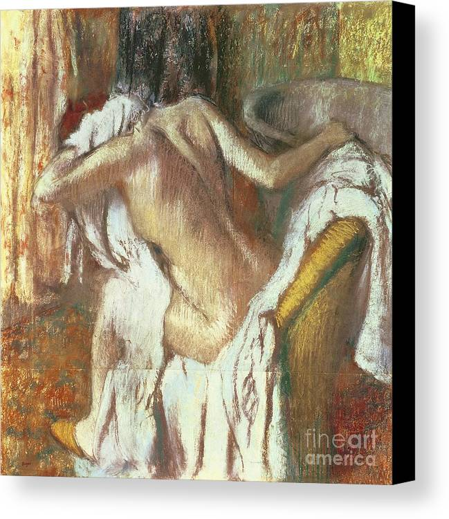 Woman Drying Herself Canvas Print featuring the pastel Woman Drying Herself by Edgar Degas