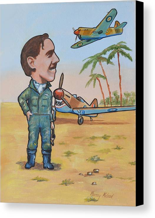 Aviation Artwork Canvas Print featuring the painting Wing Cdr.clive Caldwell by Murray McLeod