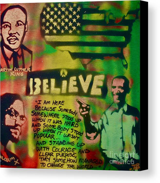 Barack Obama Canvas Print featuring the painting Barack And Martin And Malcolm by Tony B Conscious