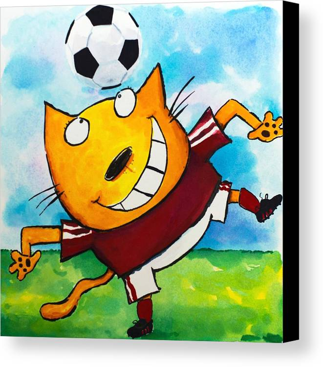 Cat Canvas Print featuring the painting Soccer Cat 4 by Scott Nelson