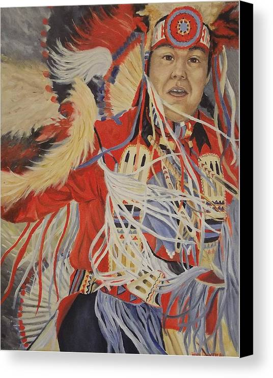 Indian Canvas Print featuring the painting At The Powwow by Wanda Dansereau
