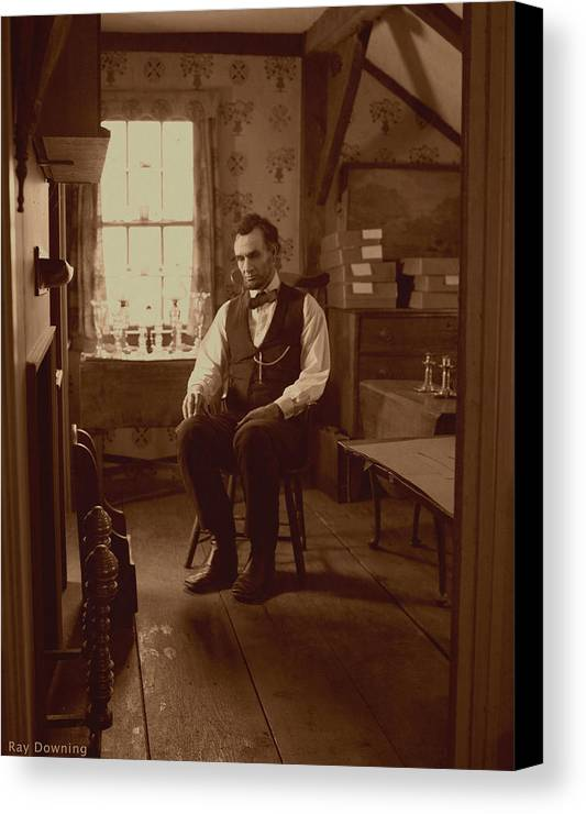 Abraham Lincoln Canvas Print featuring the digital art Lincoln In The Attic by Ray Downing