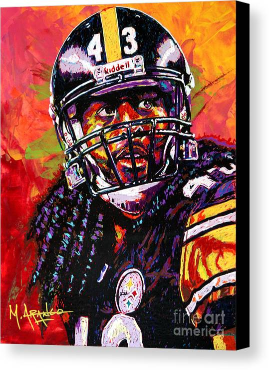 Troy Canvas Print featuring the painting Troy Polamalu by Maria Arango