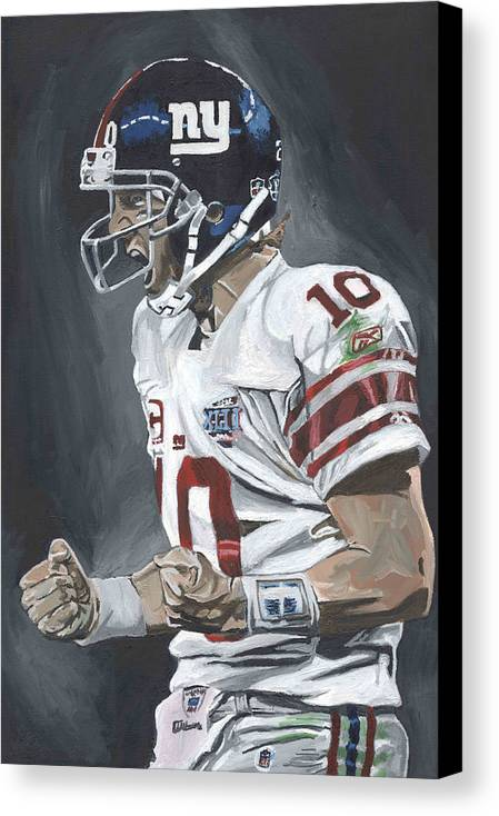 Eli Manning New York Giants Super Bowl Mvp Quarterback Nfl David Courson Sports Art Football Canvas Print featuring the painting Eli Manning Super Bowl Mvp by David Courson