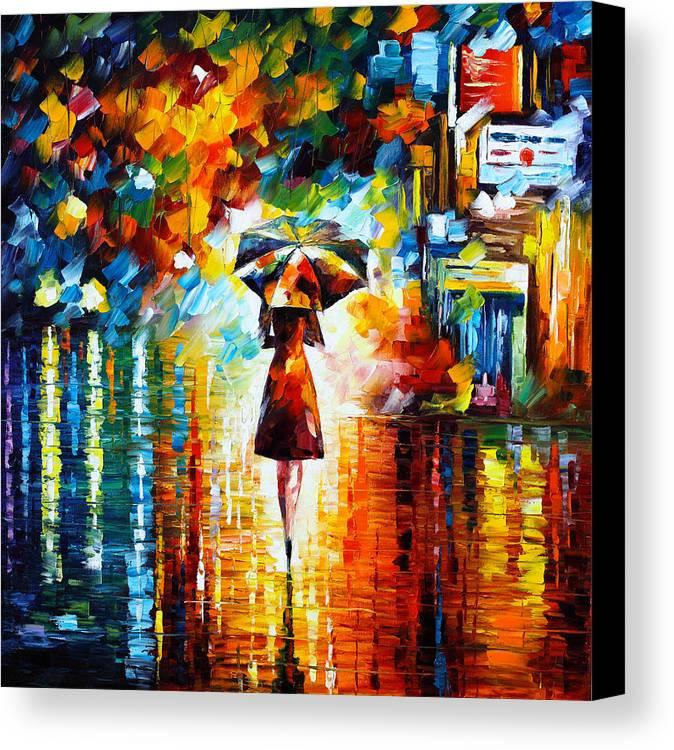 Rain Canvas Print featuring the painting Rain Princess by Leonid Afremov