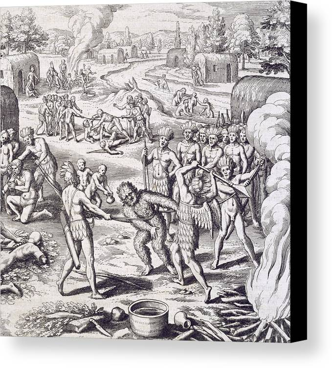 Theodore De Bry Canvas Print featuring the painting Battle Between Tuppin Tribes by Theodore De Bry