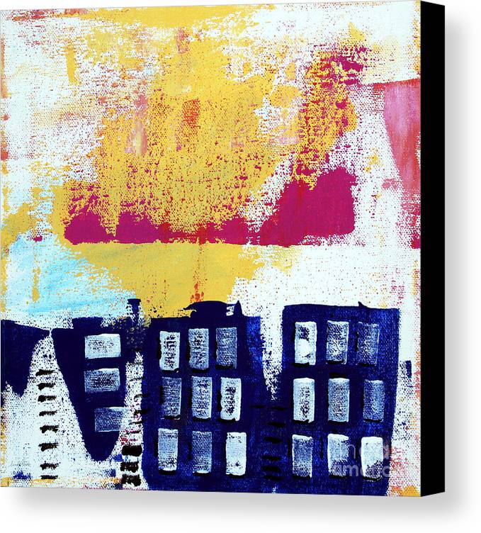 Abstract Urban Landscape Canvas Print featuring the painting Blue Buildings by Linda Woods