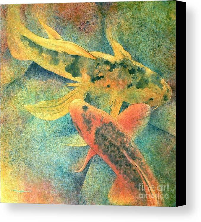 Watercolor Canvas Print featuring the painting Goldfish by Robert Hooper