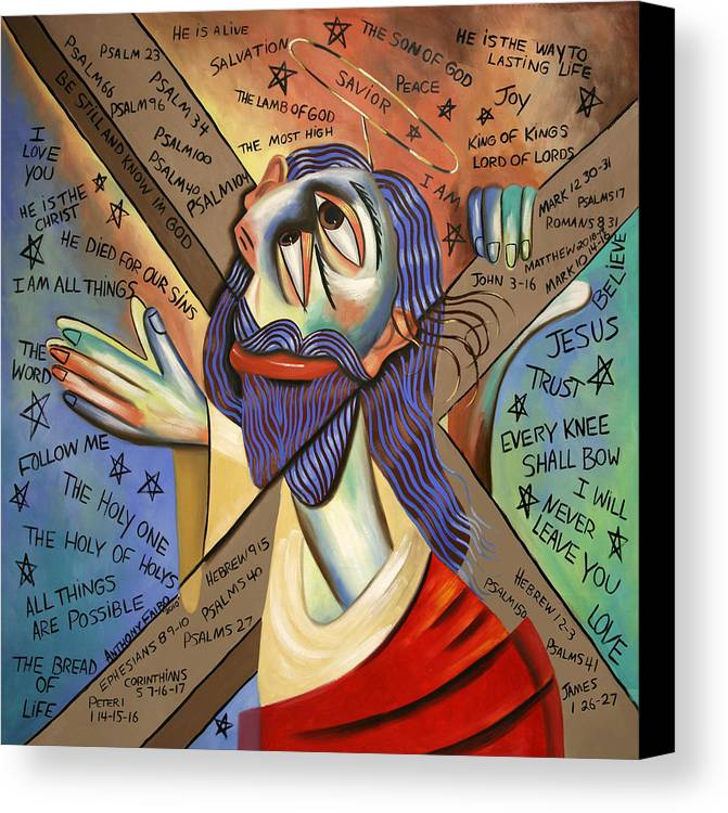 Jesus Canvas Print featuring the painting Jesus by Anthony Falbo