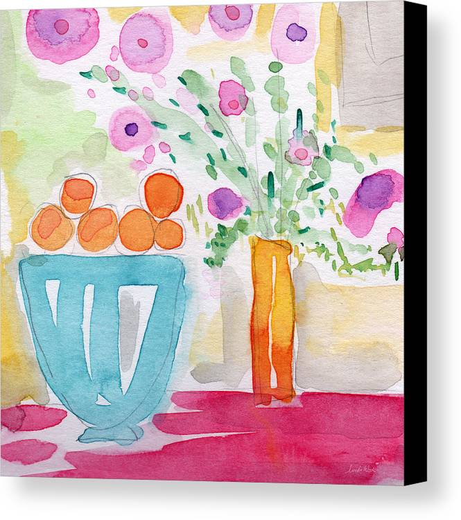 Oranges Canvas Print featuring the painting Oranges In Blue Bowl- Watercolor Painting by Linda Woods