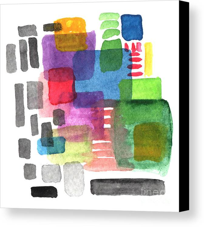 Squares Canvas Print featuring the painting Out Of The Box by Linda Woods
