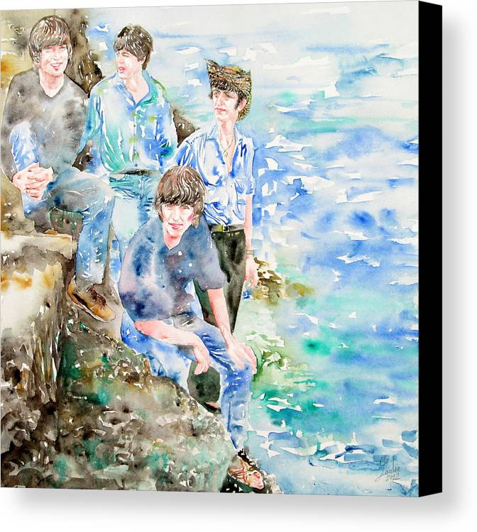 Beatles Canvas Print featuring the painting The Beatles At The Sea Watercolor Portrait by Fabrizio Cassetta