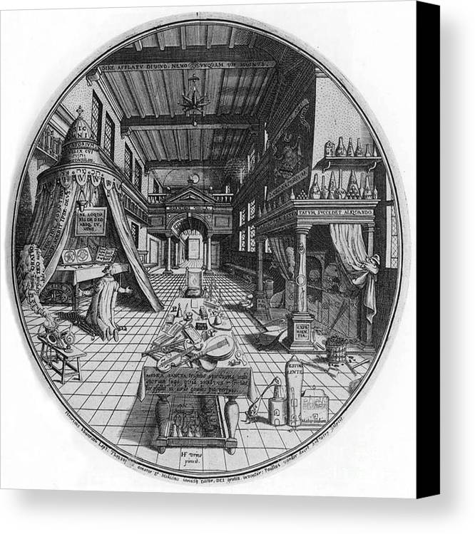 Science Canvas Print featuring the photograph Alchemists Laboratory, 1595 by Science Source