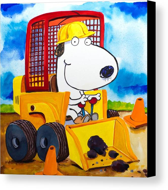 Dog Canvas Print featuring the painting Construction Dogs by Scott Nelson