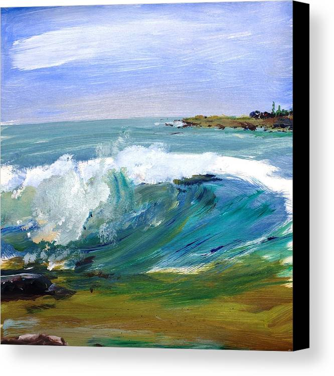 Ogunquit Beach Canvas Print featuring the painting Ogunquit Beach Wave by Scott Nelson